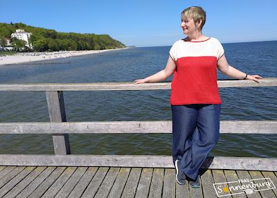 Insa - Damentop - Sommertop - Top mit Lochmuster - U-Boot-Ausschnitt - Oversize - Strickanleitung