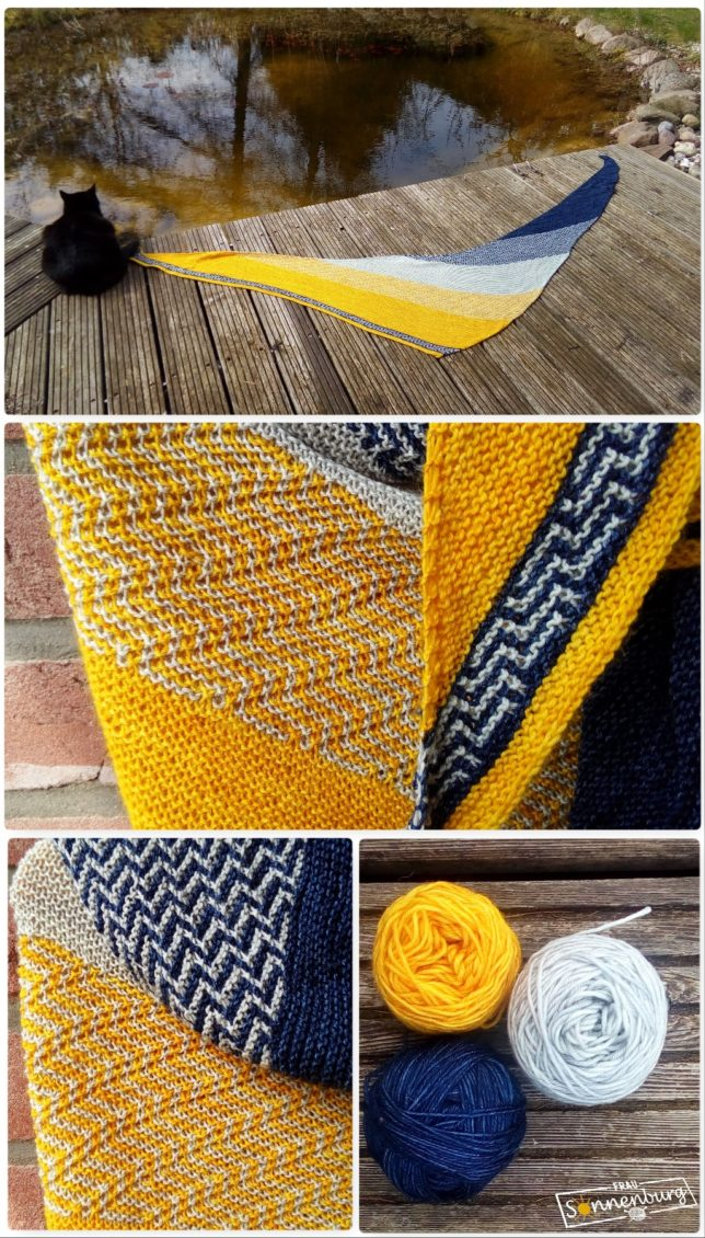 LaCrau - Melanie Berg - Mairlynd - Dreieckstuch - Mosaikmuster - Ponderosa Wolle - Ovillo Wolle - Sockenwolle - blau - grau - gelb