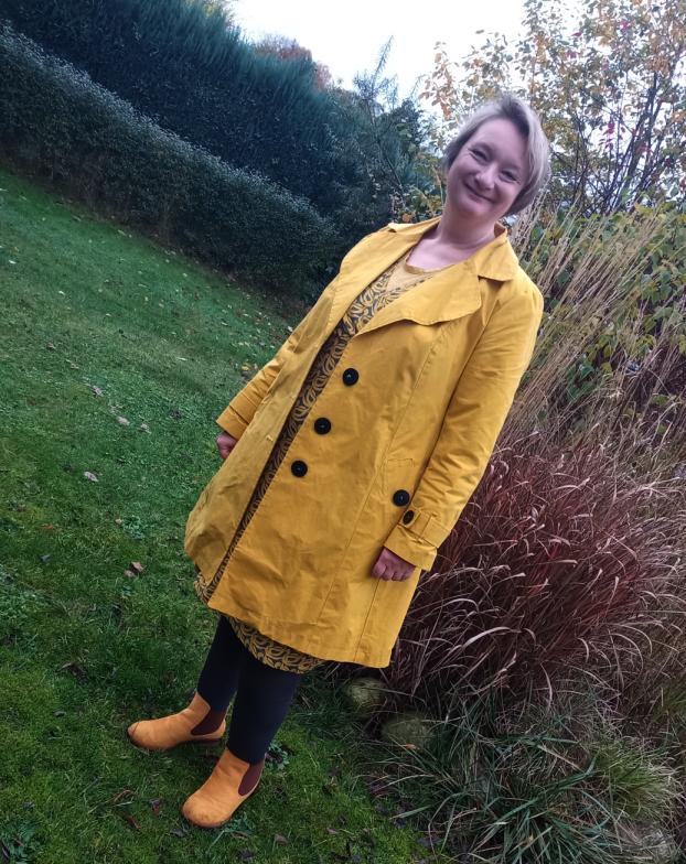 Frau Liese - Kleid - Enten - grau-gelb - Mantel Burdastyle