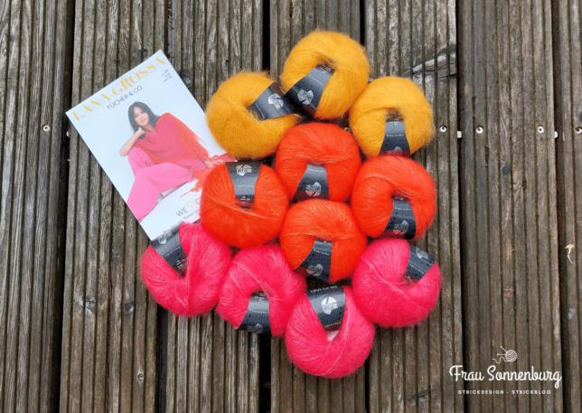 Bald auf den Nadeln: Kidsilk Mohair von Lana Grossa in gelb, orange und Flamingo für den EinfachLeicht Cardigan von Oceanandyarn