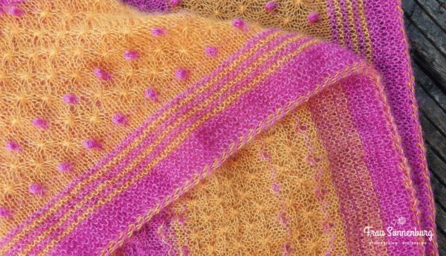 Tuch Emilia - Strickzeit - zweifarbiger ICord - Lang Yarns Lace
